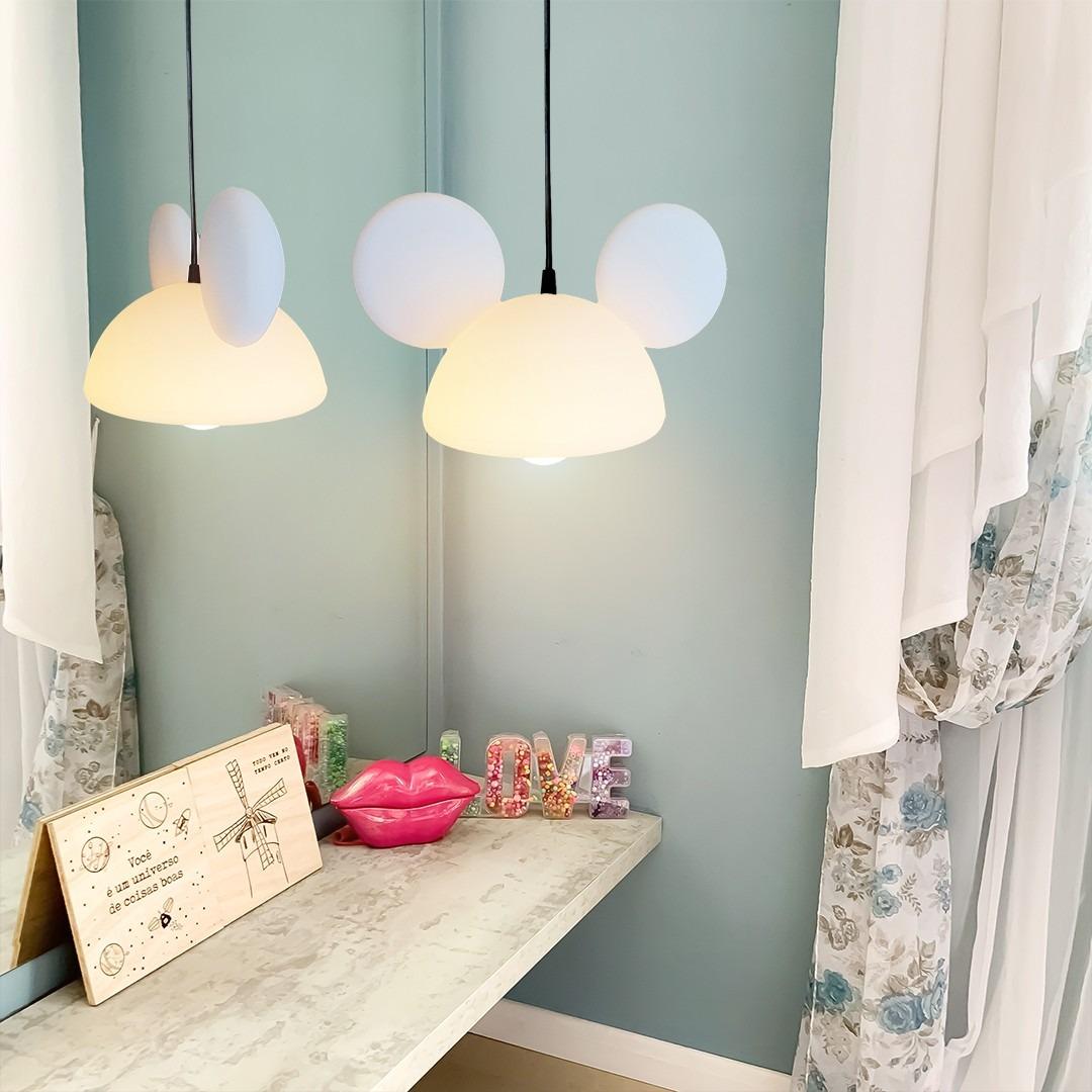 Luminária de Teto Pendente Orelhas Mickey Mouse - Disney Branco  - EV
