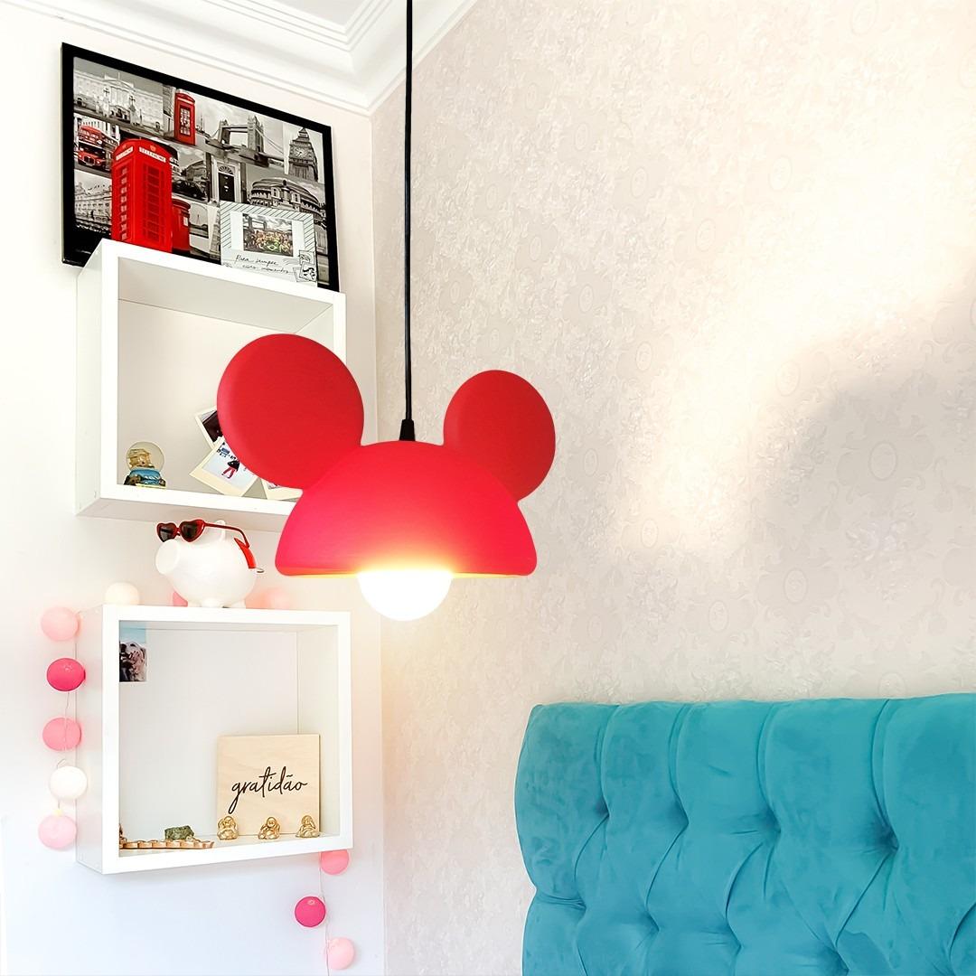 Luminária de Teto Pendente Orelhas Mickey Mouse - Disney Vermelho  - EV