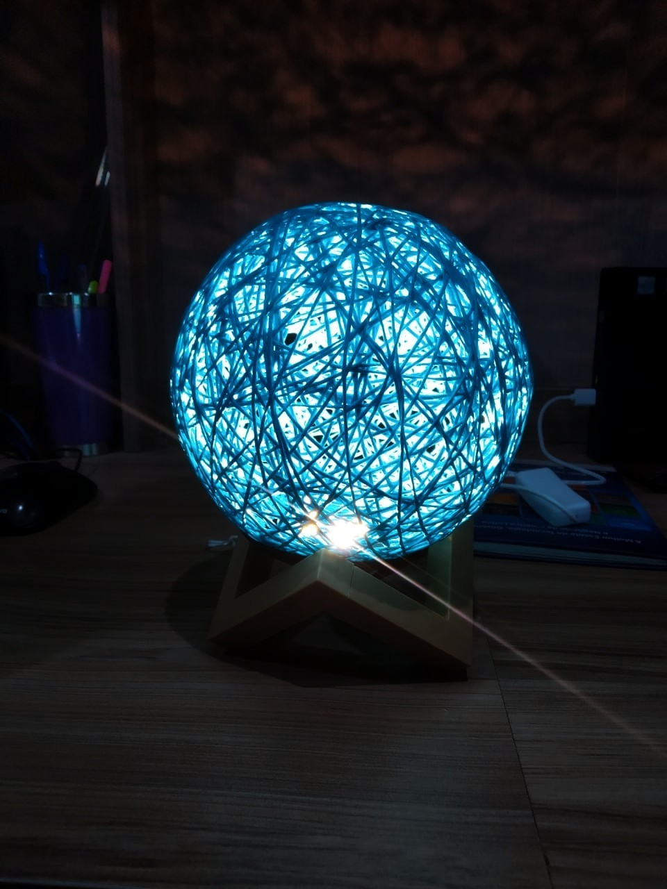 Luminária Decorativa Bola de Barbante 3D Azul (12x12) - InterPonte