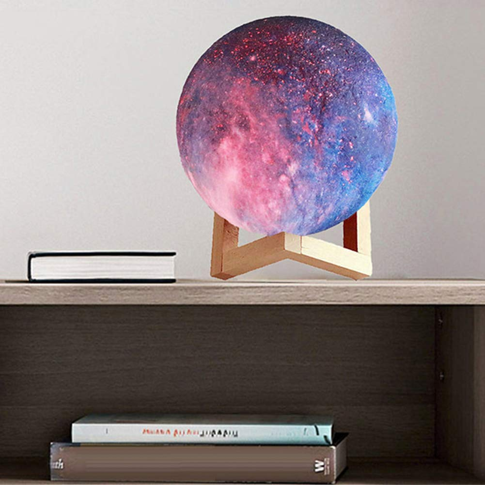 Luminária Decorativa Luz da Lua 3D (3D Moon Lamp) Blue Starry Sky (3 Cores) 12x12