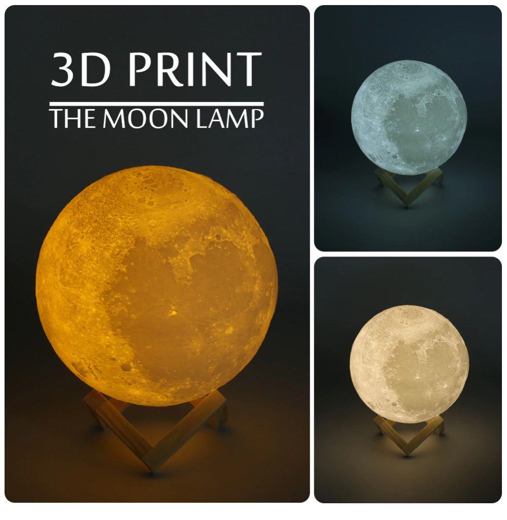 Luminária Decorativa Luz da Lua 3D (3D Moon Lamp) Branca (3 Cores) 12x12