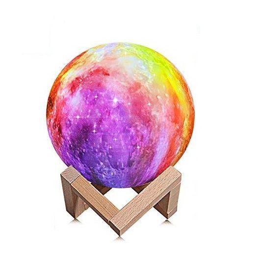 Luminária Decorativa Luz da Lua 3D (3D Moon Lamp) Pink Starry Sky (3 Cores) 15x15