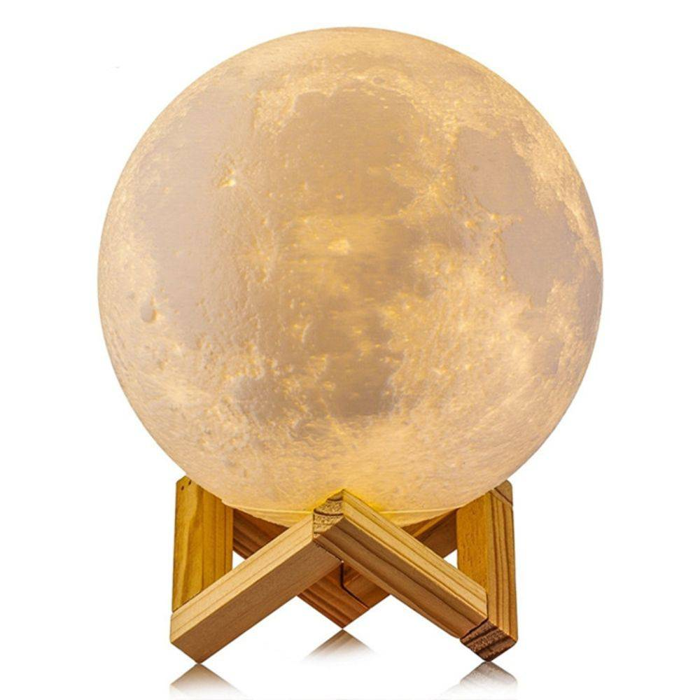 Luminária Decorativa Multicolor ''5 Cores'': Luz da Lua 3D (3D Moon Light) - 15x15