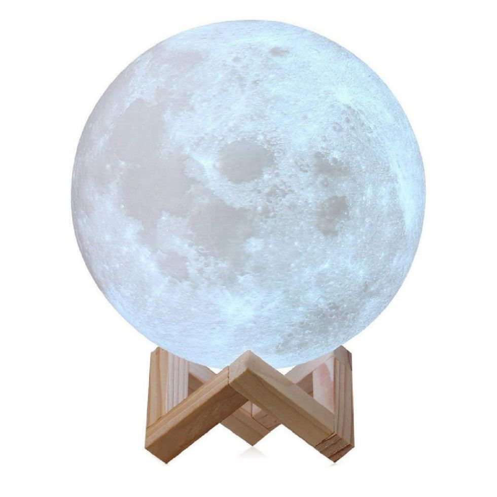 Luminária Decorativa Luz da Lua 3D (3D Moon Light) Branca - 12x12