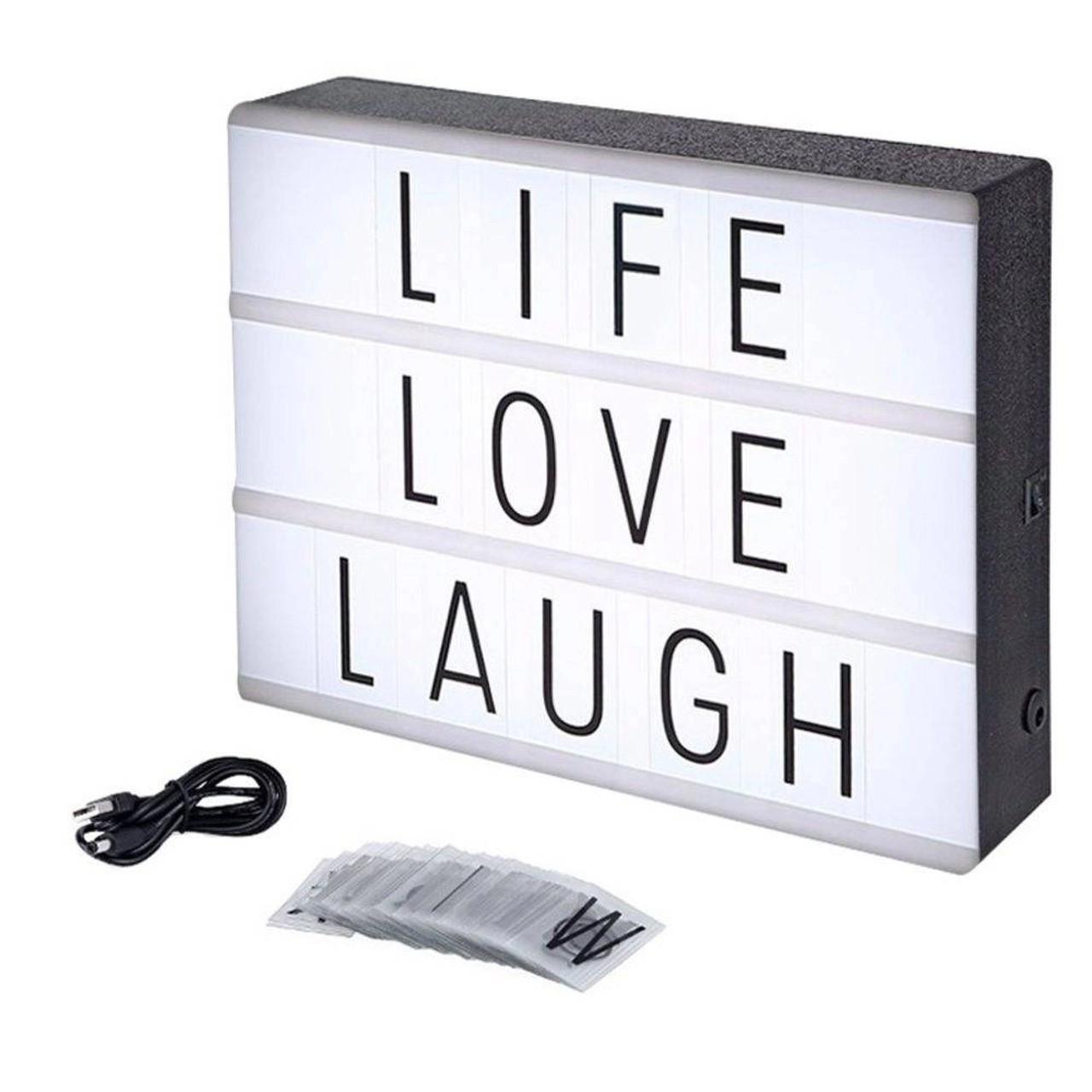 Luminária Led Light Box Letreiro  Cinema (Preto e Branco) (30cm) (Grande)