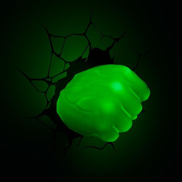 Luminária Punho Hulk: Marvel Comics - 3D light FX