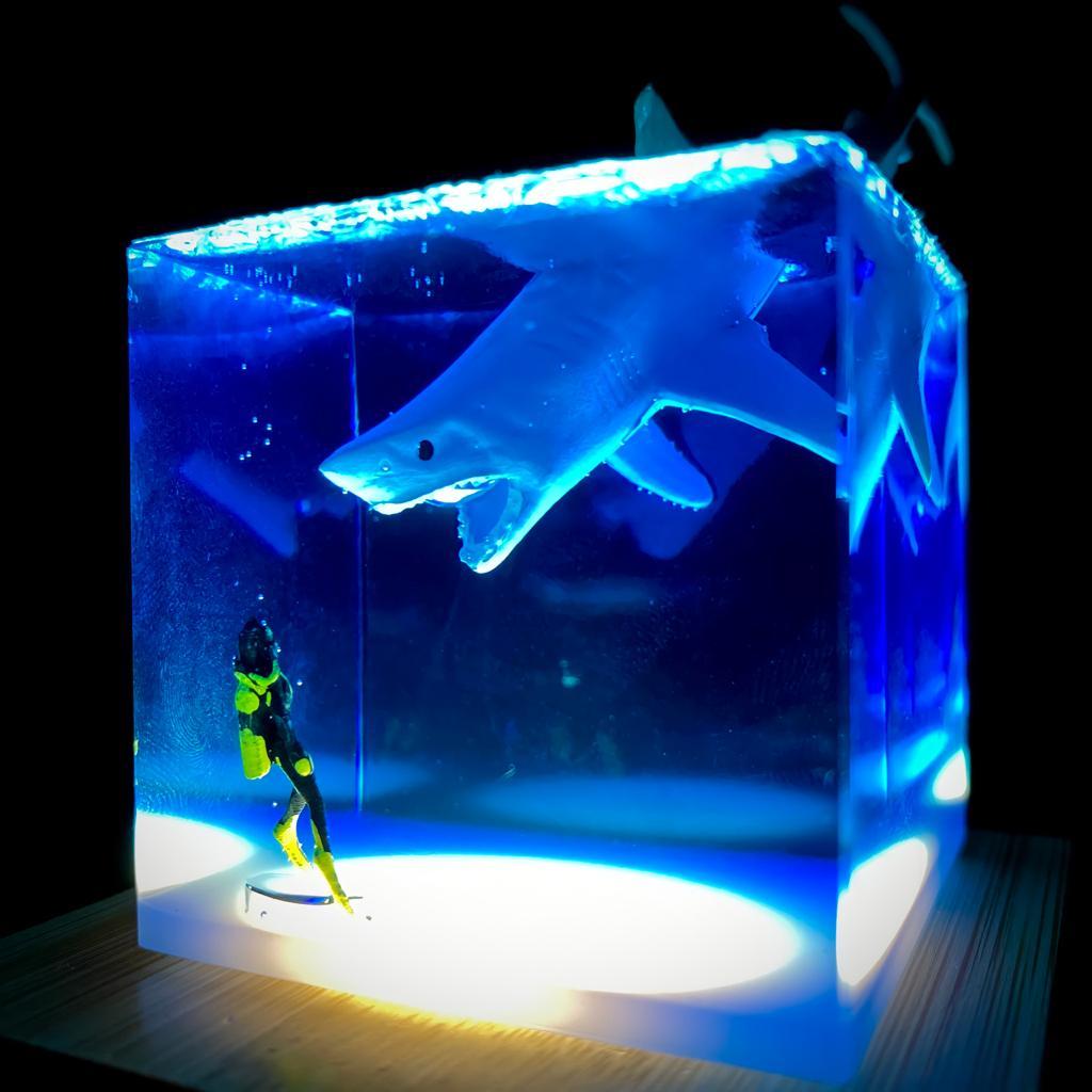 Luminária Mergulhador e Tubarão Transparente