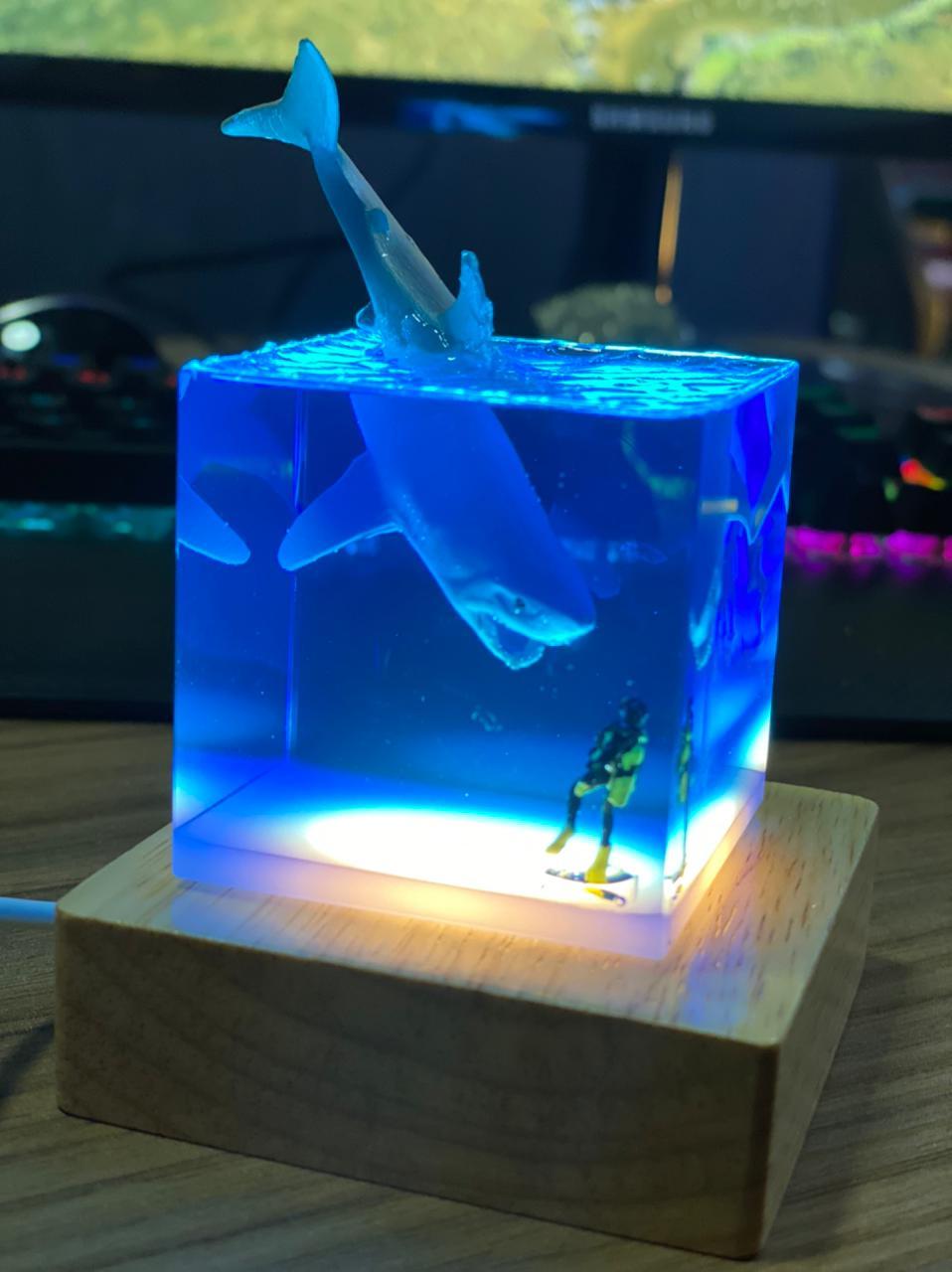 Luminária Mergulhador e Tubarão Transparente - EV
