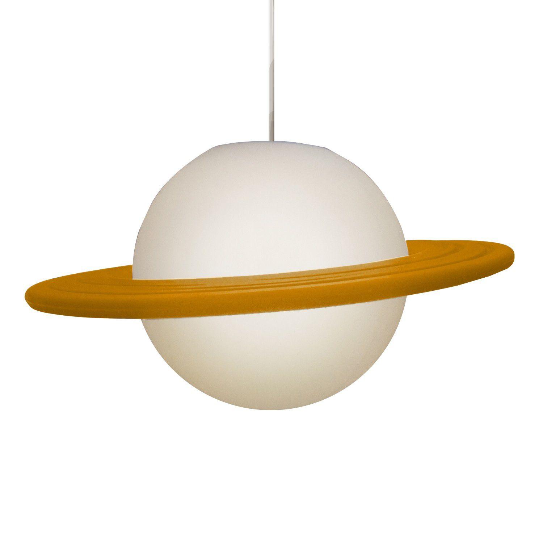 Luminária Pendente Saturno (Branco e Laranja)