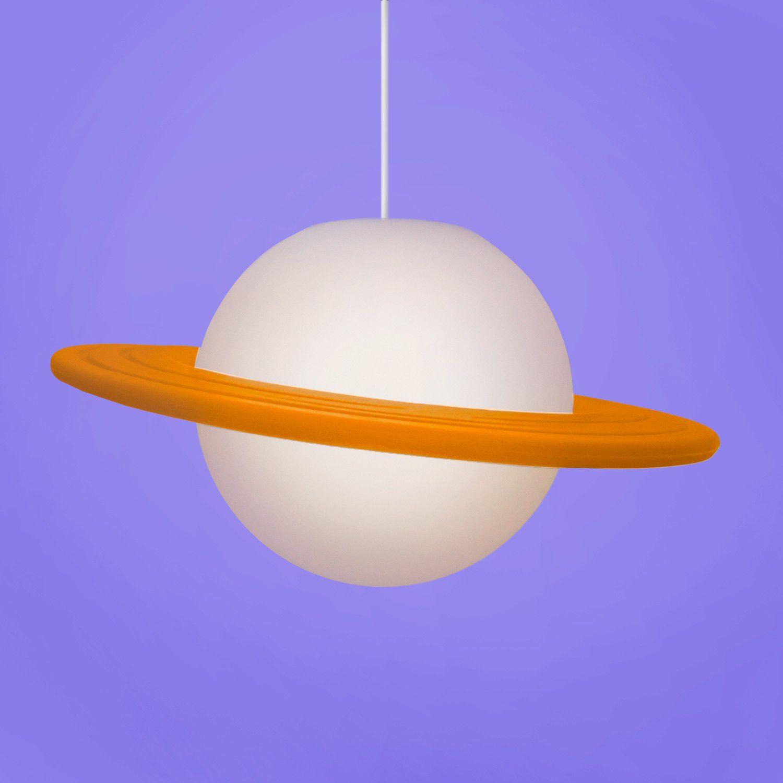 Luminária Pendente Saturno (Branco e Laranja) - EV