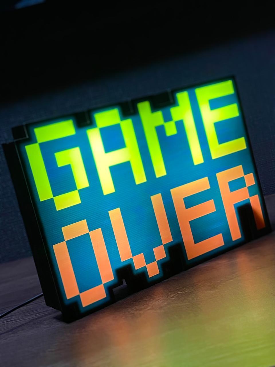 Luminária Pixel Arte Game Over ( Amarelo/ Vermelho )