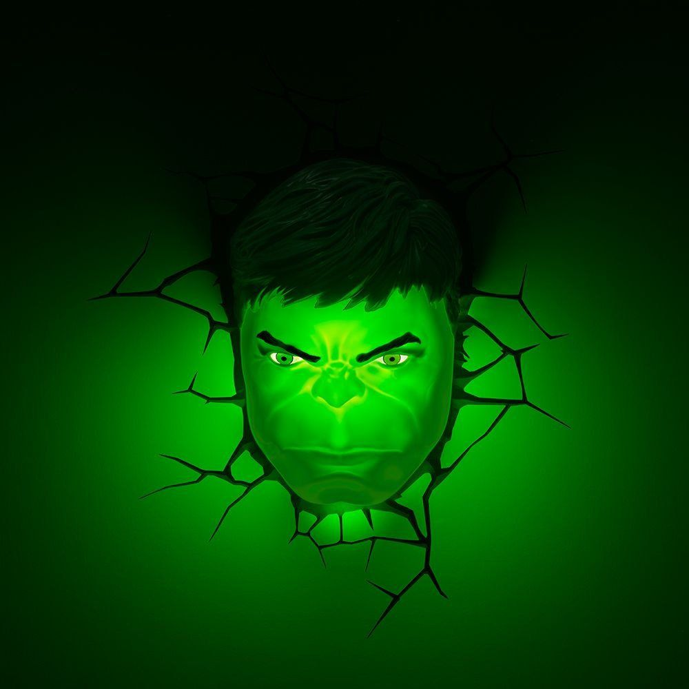 Luminária Rosto Hulk: Marvel Comics - 3D light FX