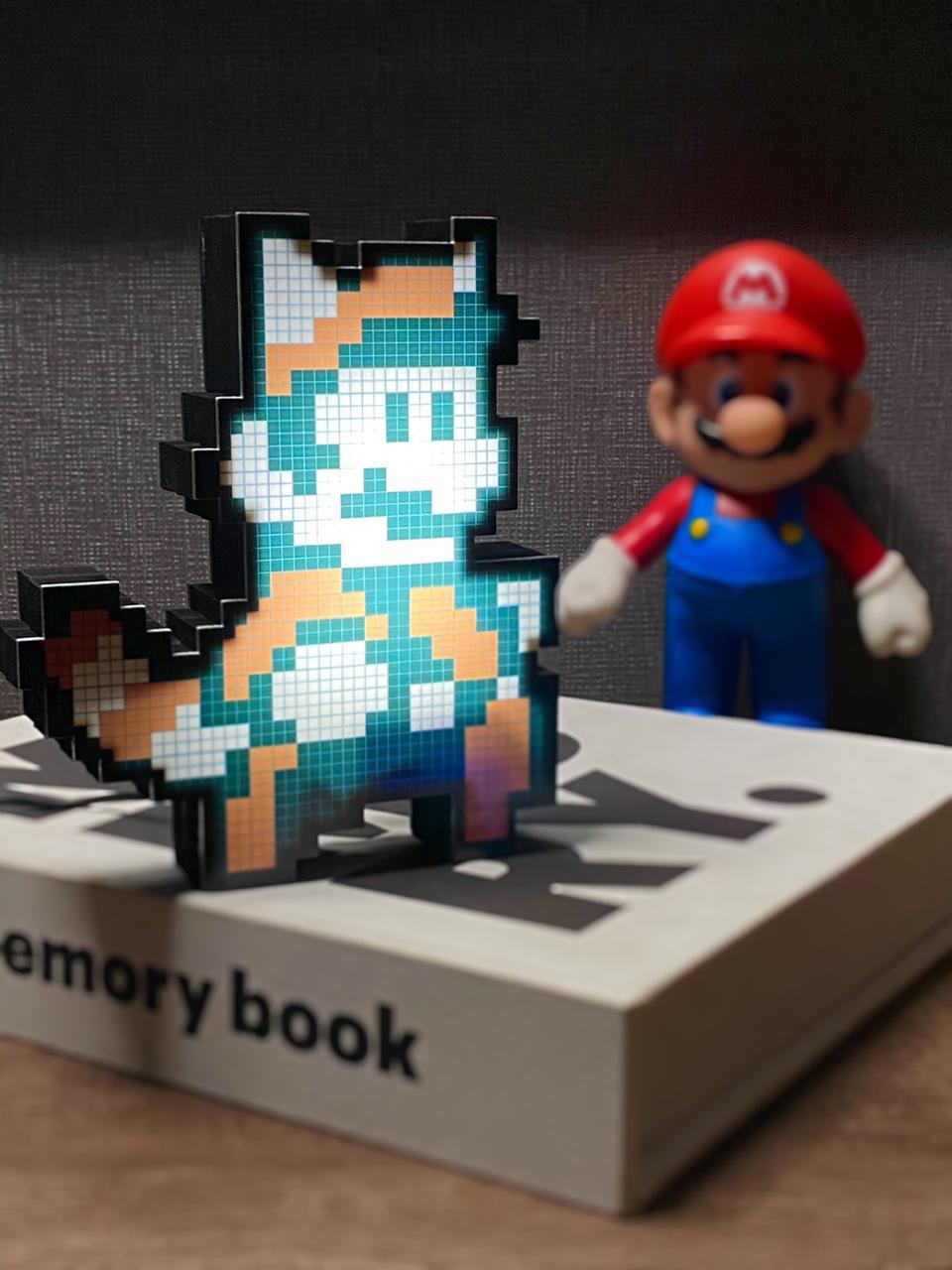 Luminoso Pixel Pals: Guaxinim Mario ( Raccoon Mario ) Super Mario Bros 3