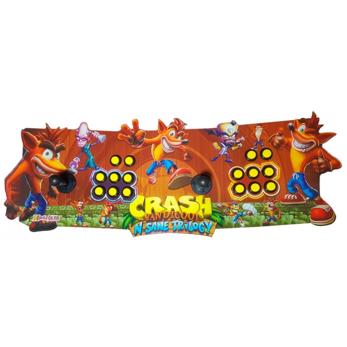 Máquina Fliperama (Controle Duplo Arcade) com desenho do Crash Bandicoot N. Sane Trilogy