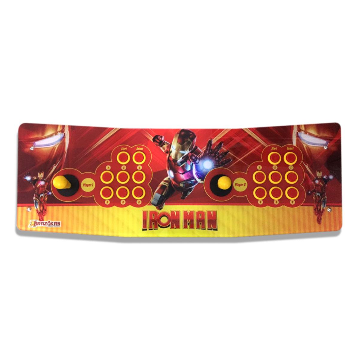 Máquina Fliperama (Controle Duplo Arcade) com desenho do Homem de Ferro (Iron Man)
