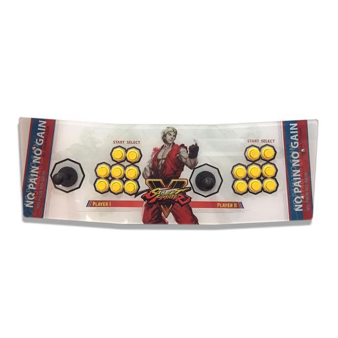 Máquina Fliperama (Controle Duplo Arcade) com desenho do Ken: Street Fighter V