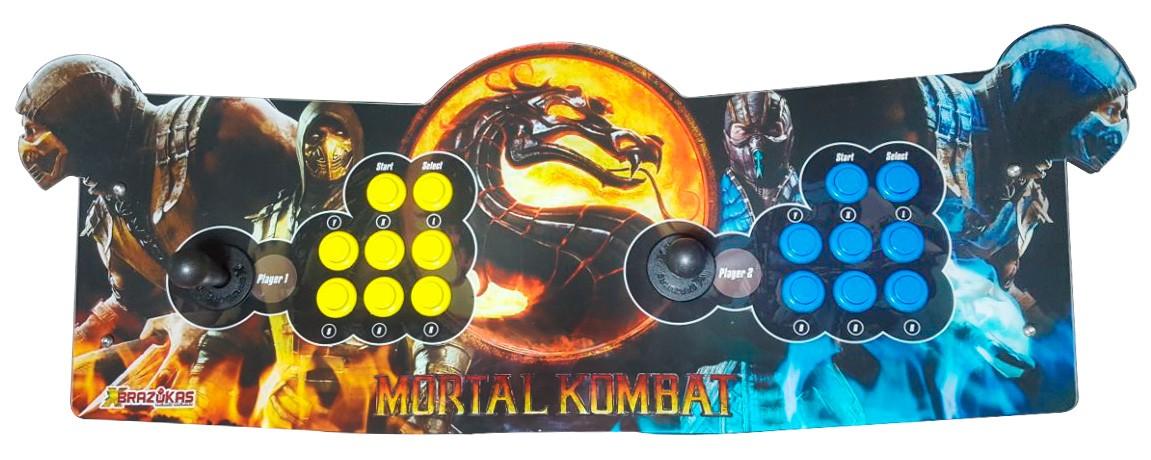 Máquina Fliperama (Controle Duplo Arcade) com desenho do Mortal Kombat (Scorpion e Sub-Zero)