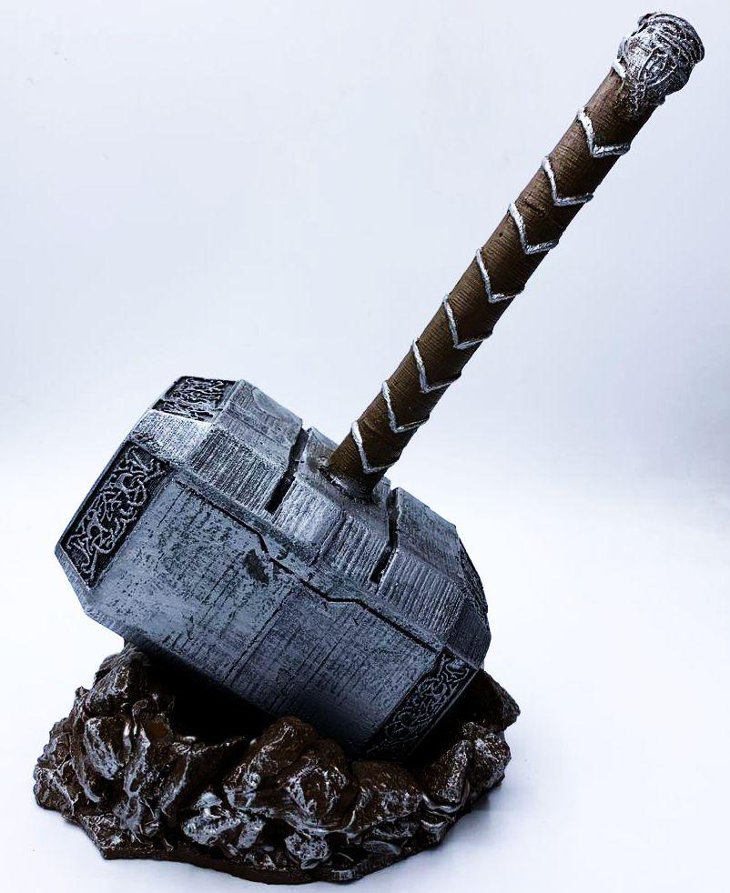 Martelo Decorativo do Thor (Mjölnir) Com Base: Marvel Comics