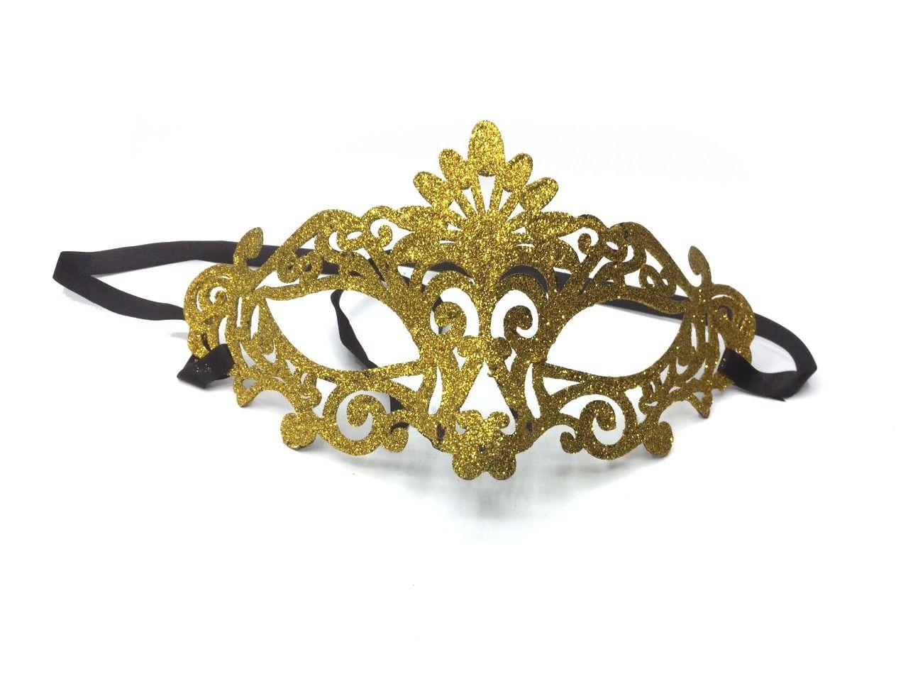 Máscara Baile Amarela Glitter - Acessório de Fantasia