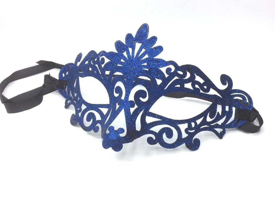Máscara Baile Azul Glitter - Acessório de Fantasia
