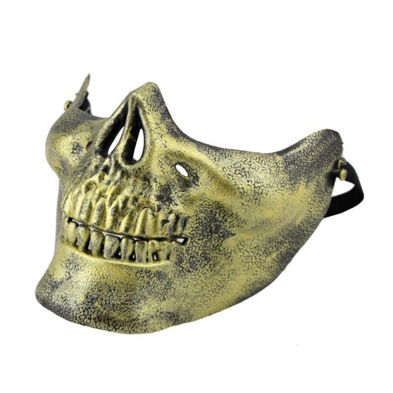 Máscara Mandíbula  Caveira Dourada -  Acessório de Fantasia