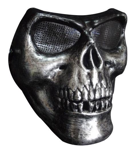 Máscara Caveira Prata - Acessório de Fantasia