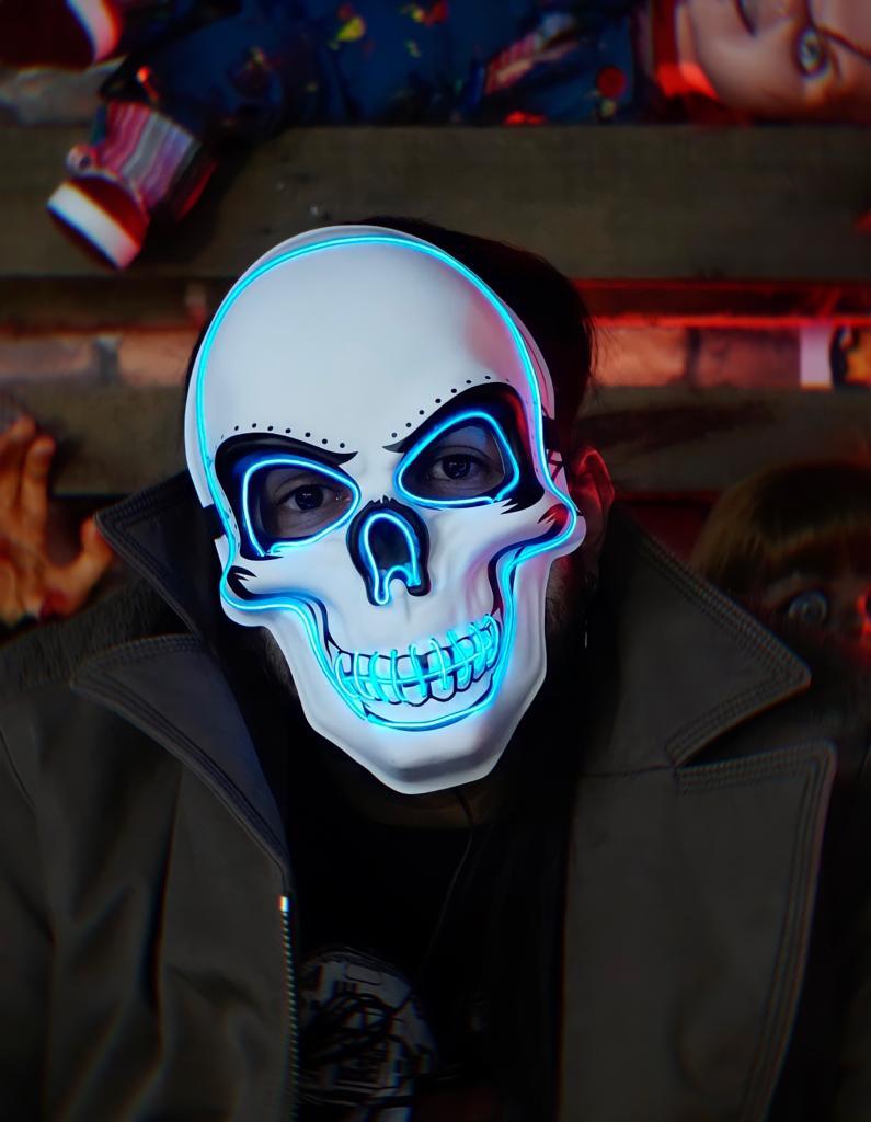 Máscara Com LED Crânio Caveira Skull Azul: Uma Noite de Crime The Purge Terror Halloween Dia das Bruxas