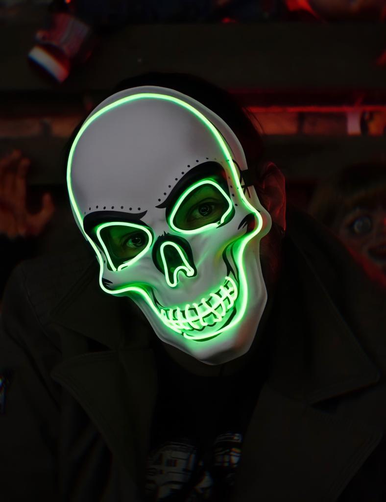 Máscara Com LED Crânio Caveira Skull Verde Claro: Uma Noite de Crime The Purge Terror Halloween Dia das Bruxas