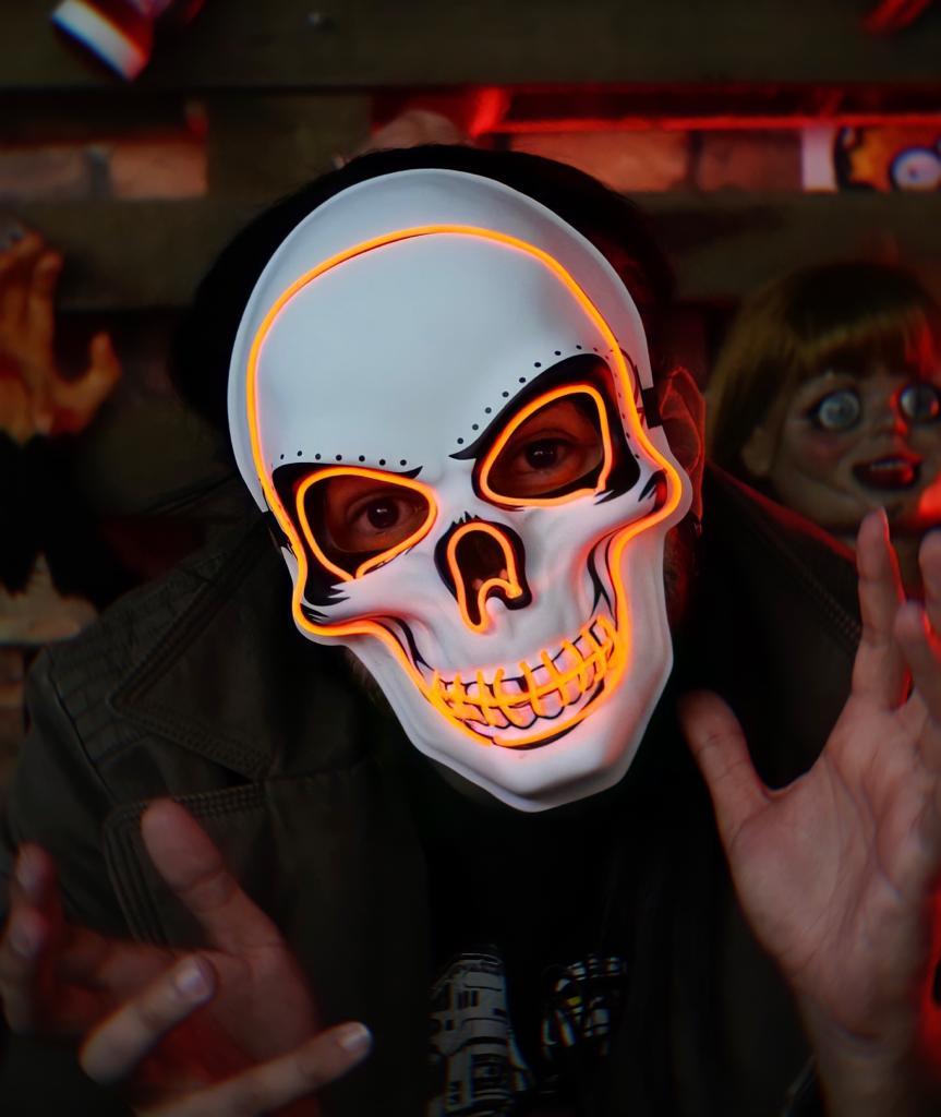 Máscara Com LED Crânio Caveira Skull Vermelho: Uma Noite de Crime The Purge Terror Halloween Dia das Bruxas