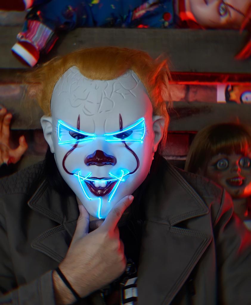Máscara Com LED Pennywise Palhaço Azul: IT A Coisa Uma Noite de Crime The Purge Terror Halloween Dia das Bruxas