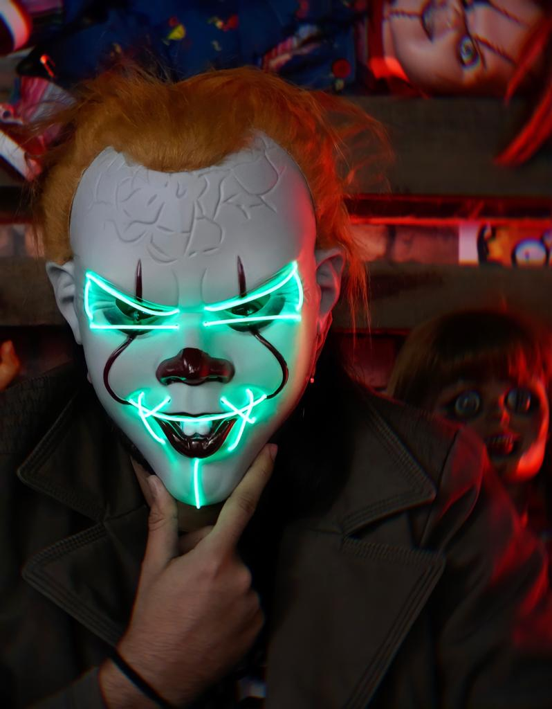 Máscara Com LED Pennywise Palhaço Verde: IT A Coisa Uma Noite de Crime The Purge Terror Halloween Dia das Bruxas