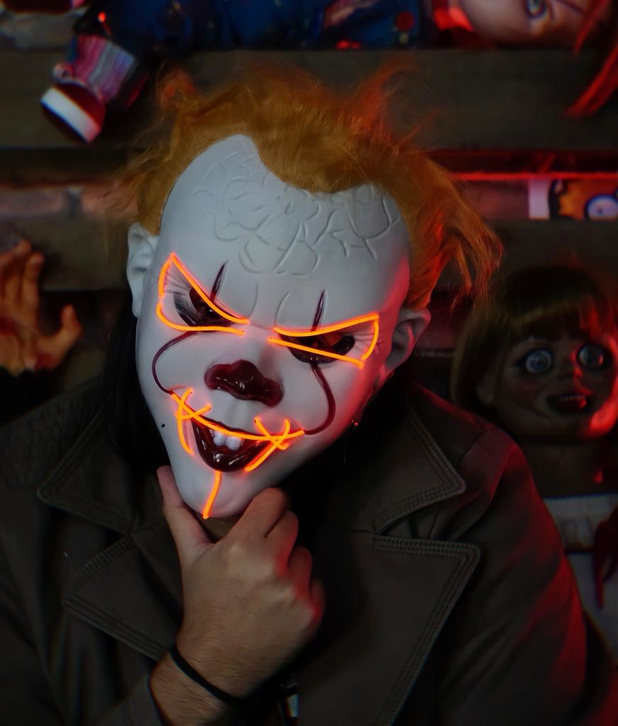 Máscara Com LED Pennywise Palhaço Vermelho: IT A Coisa Uma Noite de Crime The Purge Terror Halloween Dia das Bruxas