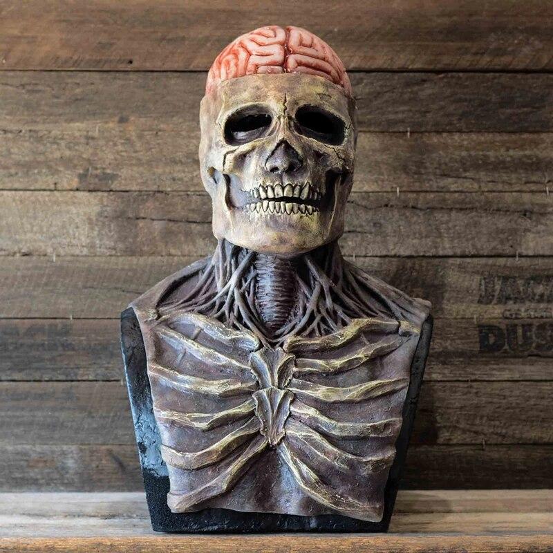 Máscara Crânio Cérebro Caveira Látex Terror Halloween Dia Das Bruxas - MKP