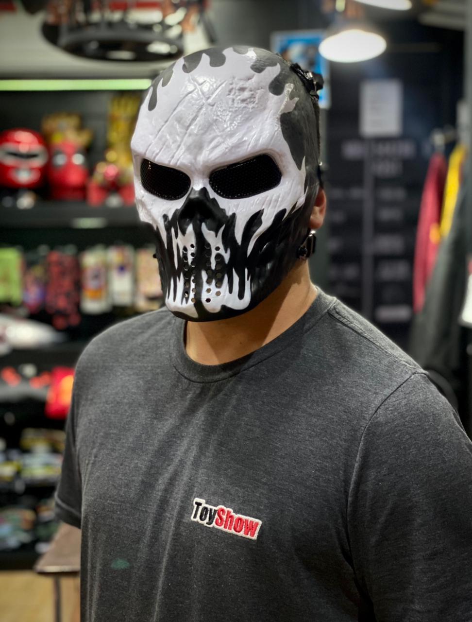 Máscara de Airsoft Tática Paintball Halloween Esqueleto Preto e Branco