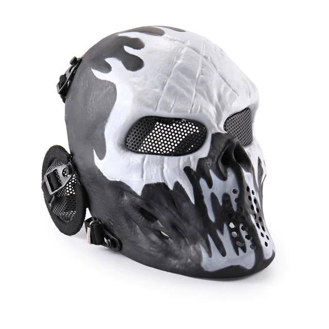 Máscara de Airsoft Tática Paintball Halloween Esqueleto Preto e Branco - EVALI