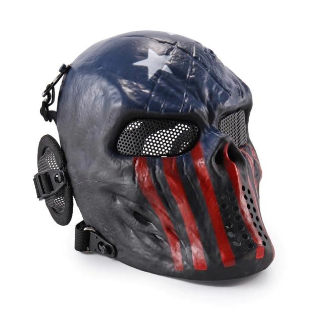 Máscara de Airsoft Tática Paintball Halloween Estados Unidos Americano U.S.A - EVALI