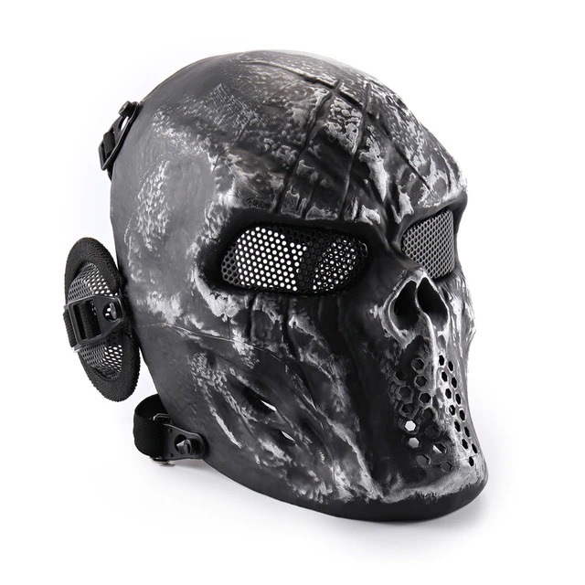 Máscara de Airsoft Tática Paintball Halloween Preta Desgastada - EVALI