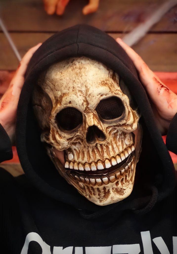 Máscara de Látex Halloween Caveira com Mandíbula Movel - MKP