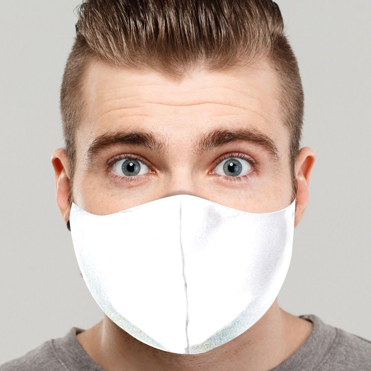 Máscara de Proteção: Lisa (Branca): Lavável Reutilizável - EV