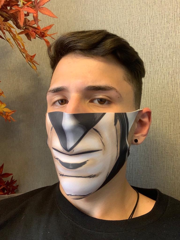 Máscara de Tecido Pequena (Neoprene) Personalizada: Boca Batman