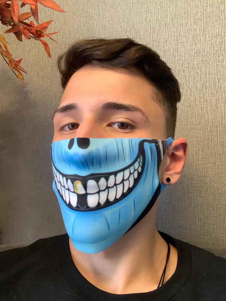 Máscara de Tecido Pequena (Neoprene) Personalizada Boca Caveira Azul - EV