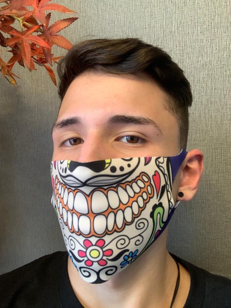 Máscara de Tecido (Neoprene) Personalizada: Boca Caveira Mexicana (Roxo) - EV