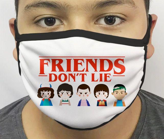 Máscara de Tecido Personalizada Amigos Não Mentem (Coisas Estranhas) Reutilizável