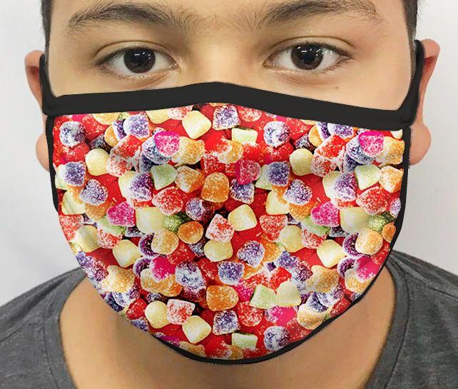 Máscara de Tecido Personalizada Bala de Goma Lavável Reutilizável - EV