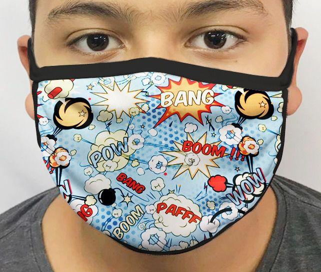 Máscara de Tecido Personalizada Balão Quadrinhos Lavável Reutilizável - EV