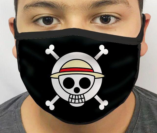 Máscara de Tecido Personalizada Bandeira Pirata One Piece Lavável Reutilizável - EV