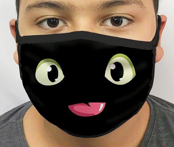 Máscara de Tecido Personalizada Banguela (Toothless): Como Treinar Seu Dragão (How to Train Your Dragon) Lavável Reutilizável