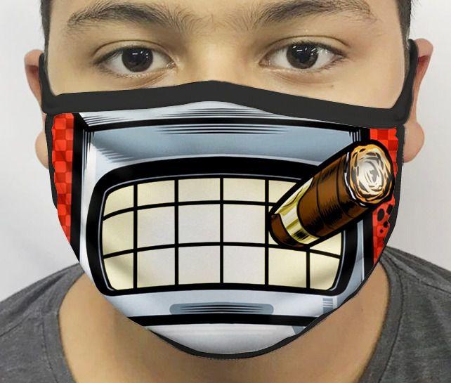 Máscara de Tecido Personalizada Boca Bender (Futurama) Reutilizável - EV