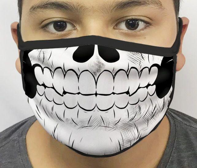 Máscara de Tecido Personalizada Boca Caveira Reutilizável - EV