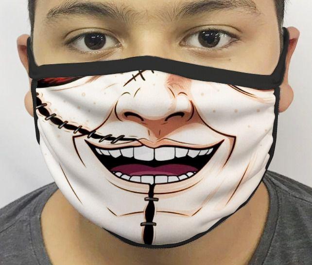 Máscara de Tecido Personalizada Boca Boneco Assassino Reutilizável - EV